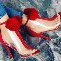Brand Red Black Patchwork Open Toe Sandal Booties Big Fur Pom Poms Pumps Transparent PVC Shoes