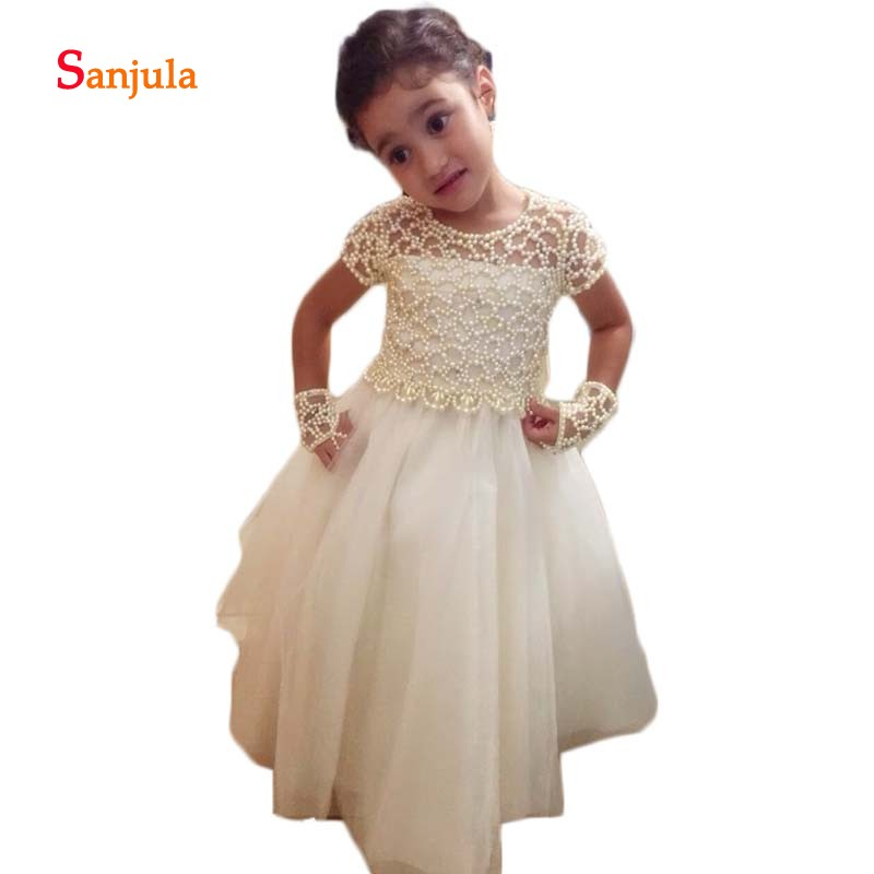 Short Sleeve Pearls Dazzling   Flower     Girls     Dresses   2018 A-Line Sheer Back Attractive Birthday   Dresses   vestidos de comunion D81