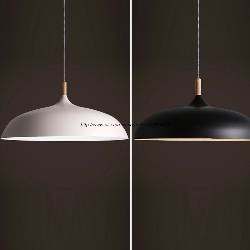 Modern Pendant Light Fixture Wood Ceiling Lamp Aluminum Hanging Lighting D 45cm/60cm luminaria colgante de madera de aluminio