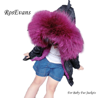 RosEvans Spring Winter Women Parker 2 in 1 Detachable Fur Inner and Large Real Raccoon Fur Baby Girl Jacket Coat for Kids B563