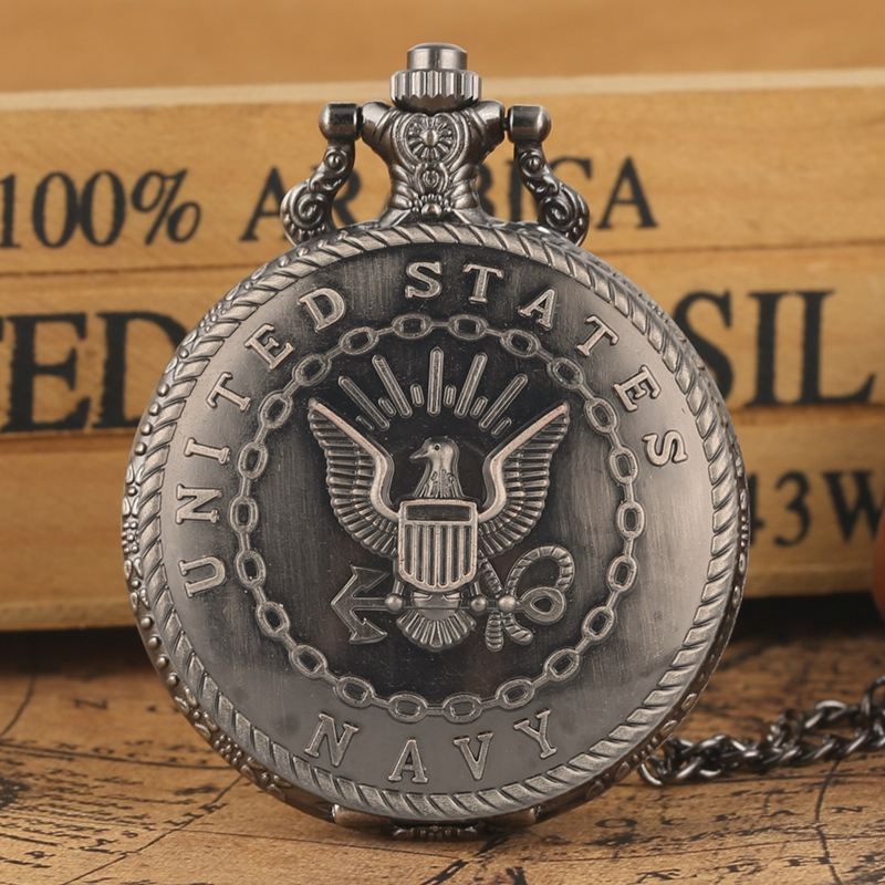 Retro Antique Navy Symbol Quartz Pocket Watch Army Military Chain Necklace Pendant Gift FOB Clock Art Collectibles For Men Women