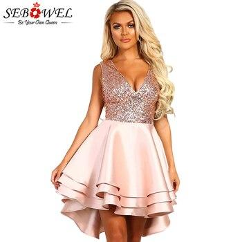 6d481055252 Product Offer. SEBOWEL сексуальное розовое Золотое Платье с пайетками  женское элегантное блестящее Вечерние ...