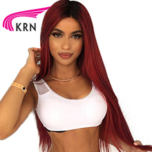 KRN 1B/99J Color 130 Density Lace Frontal Wigs With Baby Hair 8-24 Inch Straight Remy Hair Glueless Brazilian Human Hair Wigs