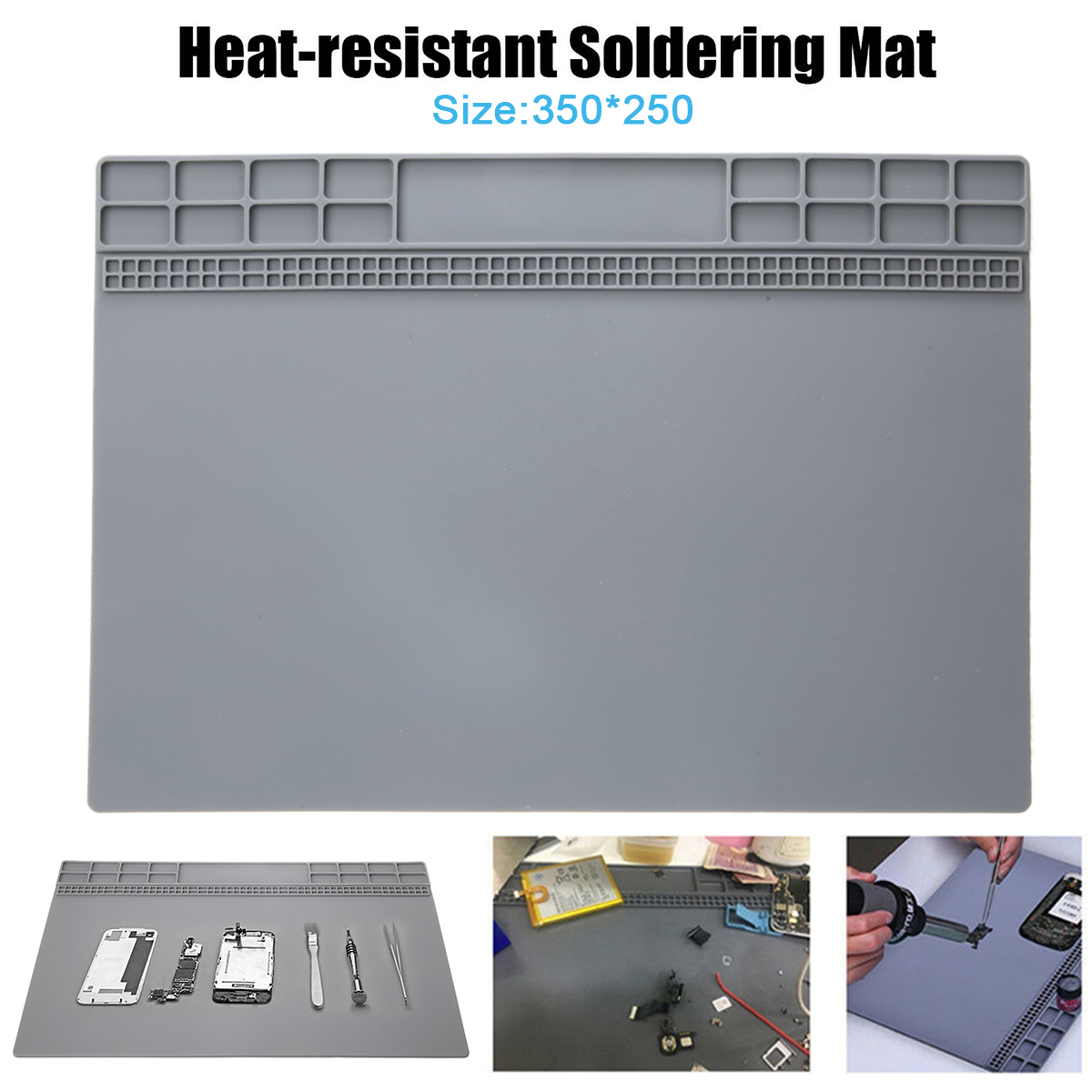 35x25cm Silicone Soldering Mat Magnetic Insulation Repair Pad For Welding Heat Resistant Soldering Repair Tool