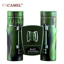 USCAMEL 8×21 Zoom Prismáticos Compacto de Largo Alcance 3000 m Plegable HD Poderosa Mini Telescopio Bak4 FMC Óptica Caza deportes Verde