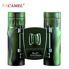 Best price USCAMEL 8×21 Compact Zoom Binoculars Long Range 3000m Folding HD Powerful Mini Telescope Bak4 FMC Optics Hunting Sports Green