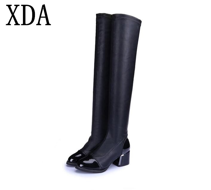 XDA 2018 Fashion PU Leather Over Knee Boots Women Sequined Toe Elastic Stretch Thick Heel Thigh High Riding Boots