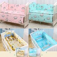 6 шт., хлопковая дышащая детская кроватка с принтом, бампер, защита от столкновений, для новорожденной кровати, окруженная безопасными рельсами, постельные принадлежности