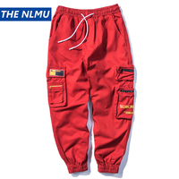 2019 Men's Streetwear Joggers Pants Hip Hop Multi Pockets Jogger Pant Men Casual Harajuku Cargo Trousers Sweatpants Red WB48