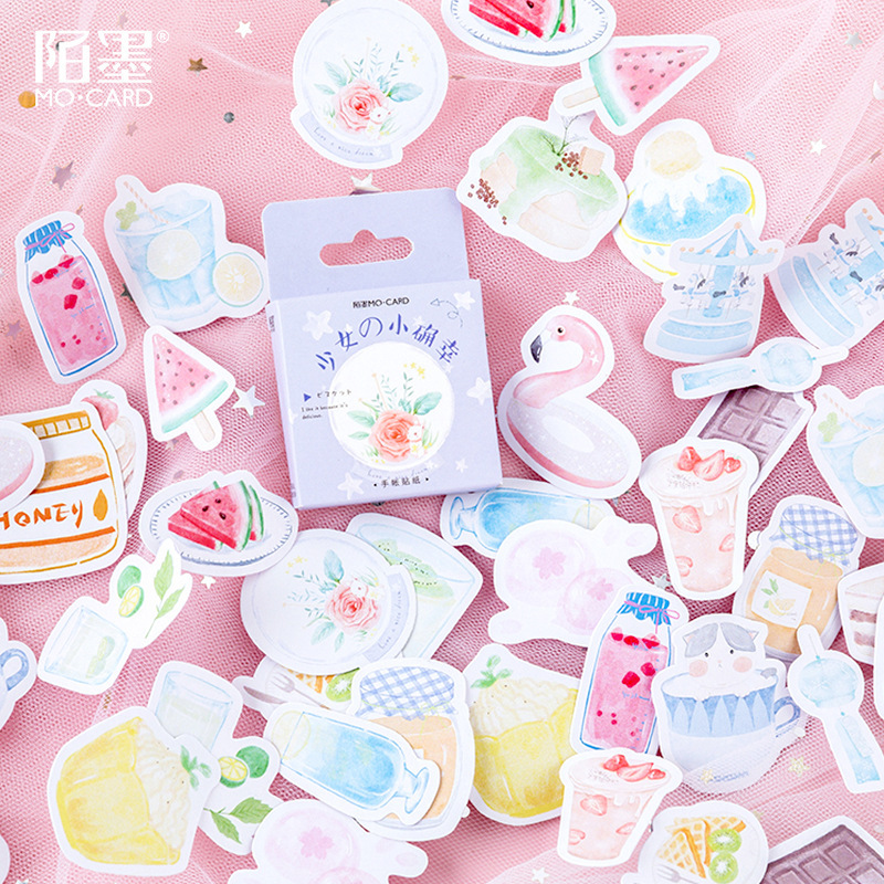 Girls'Happiness Series Bullet Journal Decorative Stickers Scrapbooking Stick Label Diary Stationery Album Cute Box Stickers