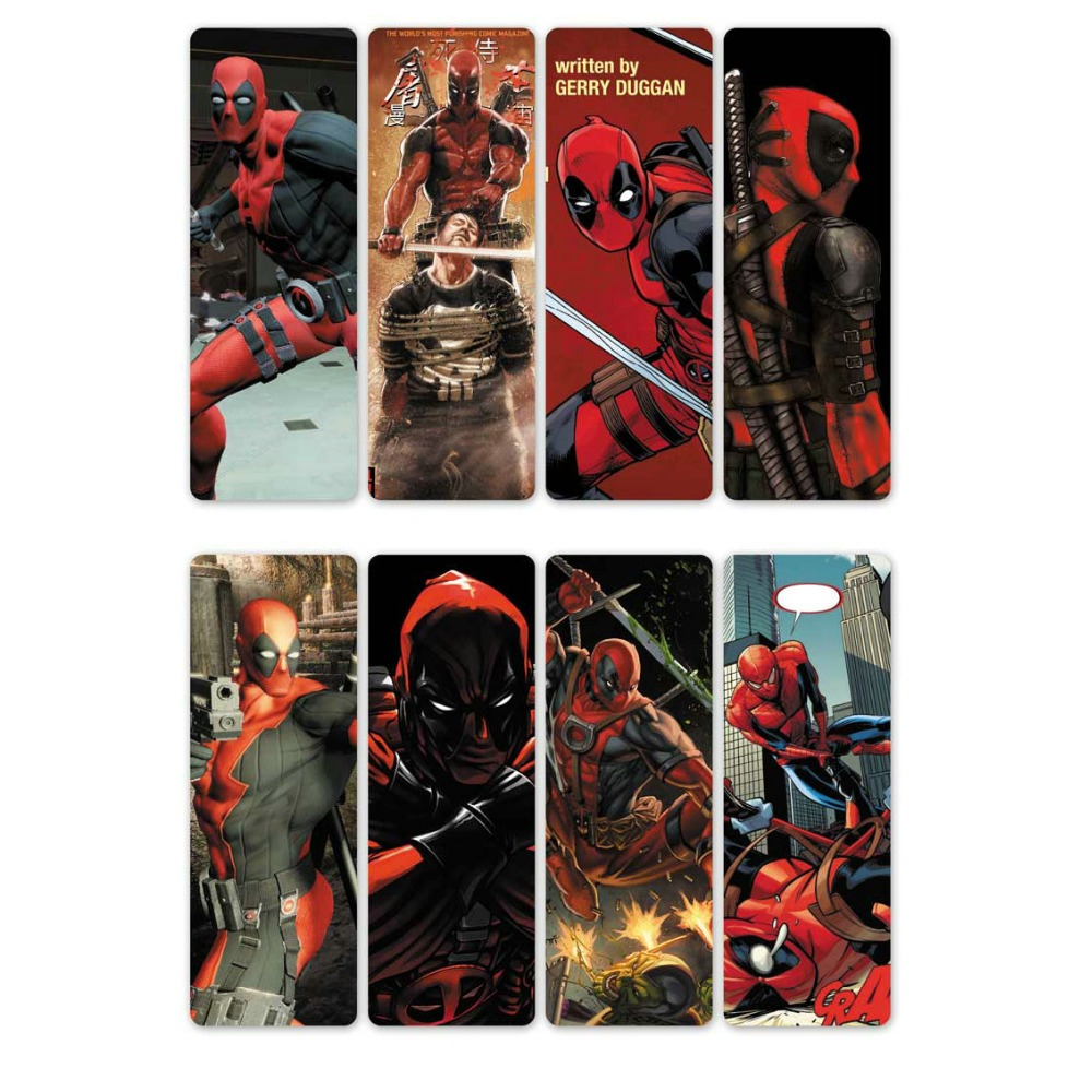 8pcs Movie Deadpool Bookmarks Waterproof Transparent PVC Plastic Bookmark Beautiful Book Marks Gift