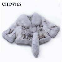 Women Natural Real Fox Fur Coat Jacket Head Tail Fashion High Quality V Neck Short Design Female Autumn Spring Factory Outlet629