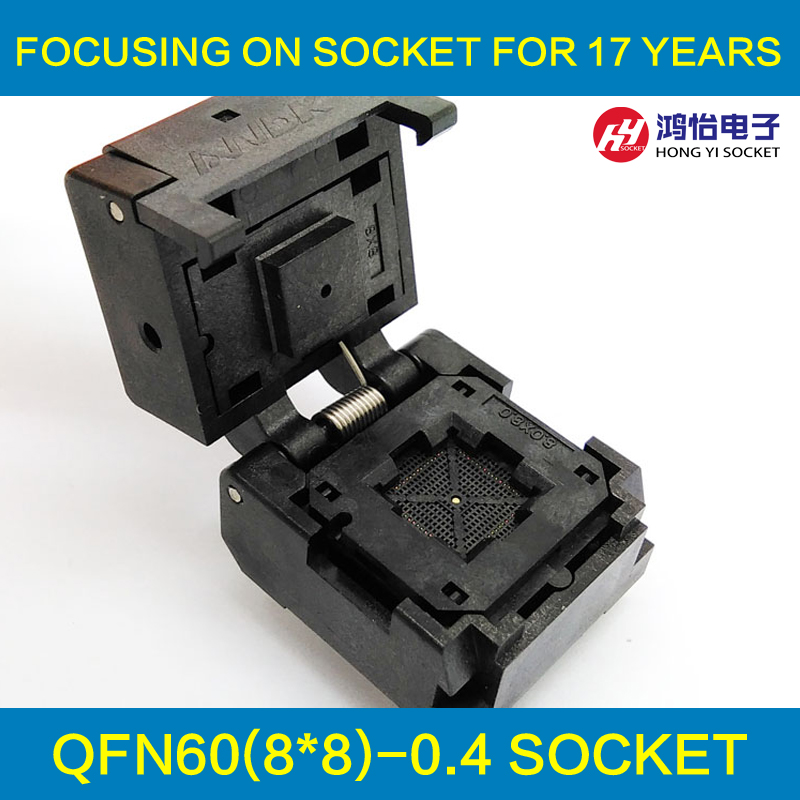 QFN60 MLF60 IC Test Socket Pitch 0.4mm IC549-0604-009-G Burn in Socket Clamshell Chip Size 8*8 Flash Adapter Programming Socket qfp40 ic test conversion chip ic programming block qfp40
