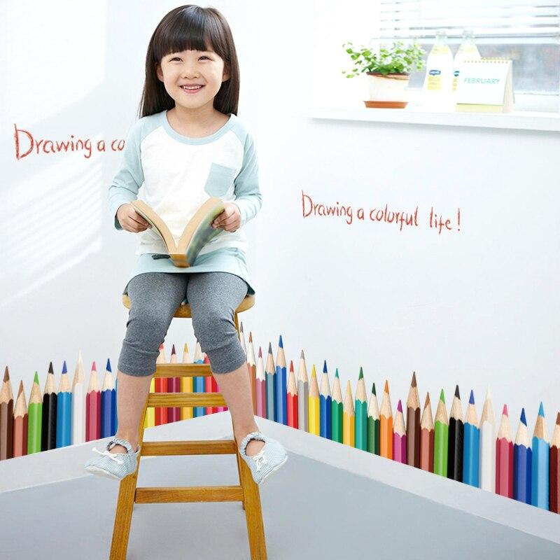 Lápices de Diseño DIY extraíble zócalo línea etiqueta de la pared de entrada del