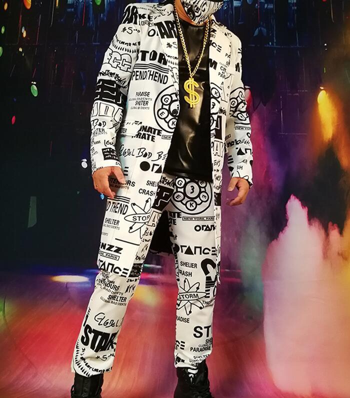 Costumes sur mesure ensembles (veste + pantalon) hommes mode Graffiti décontracté Hip Hop Long Blazers veste mâle partie scène chanteur DJ Costume