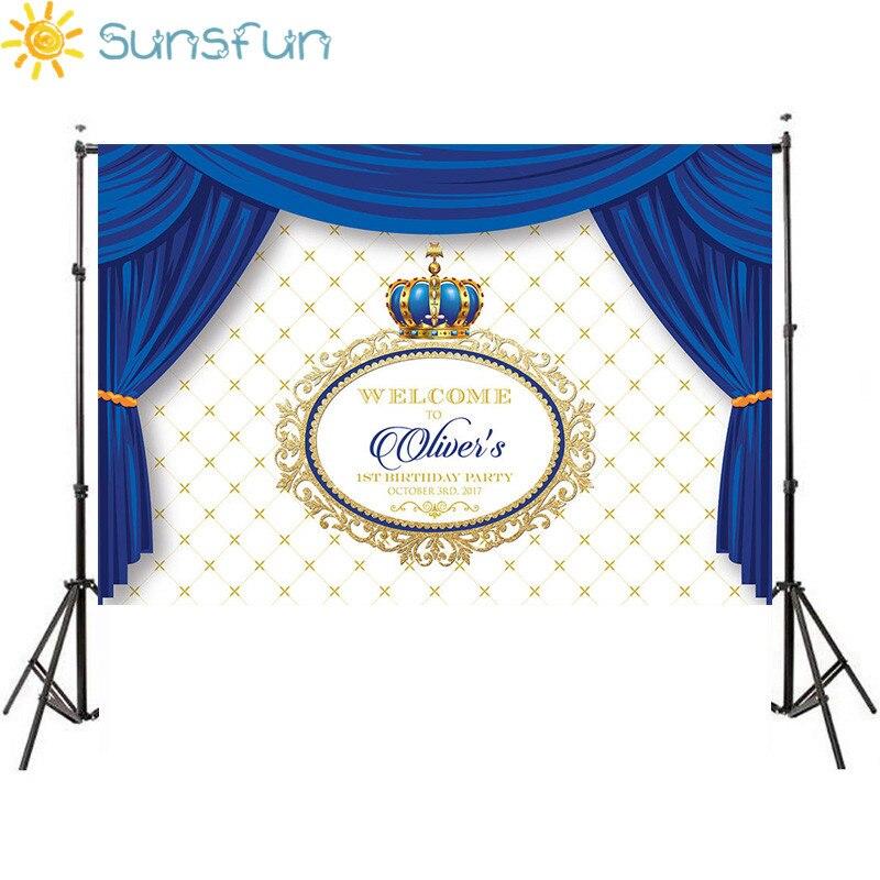 Sunsfun 7x5FT Blauen Vorhang Prinz Party Baby Shower Crown Rahmen Benutzerdefinierte Foto Hintergrund Vinyl 220 cm x 150 cm