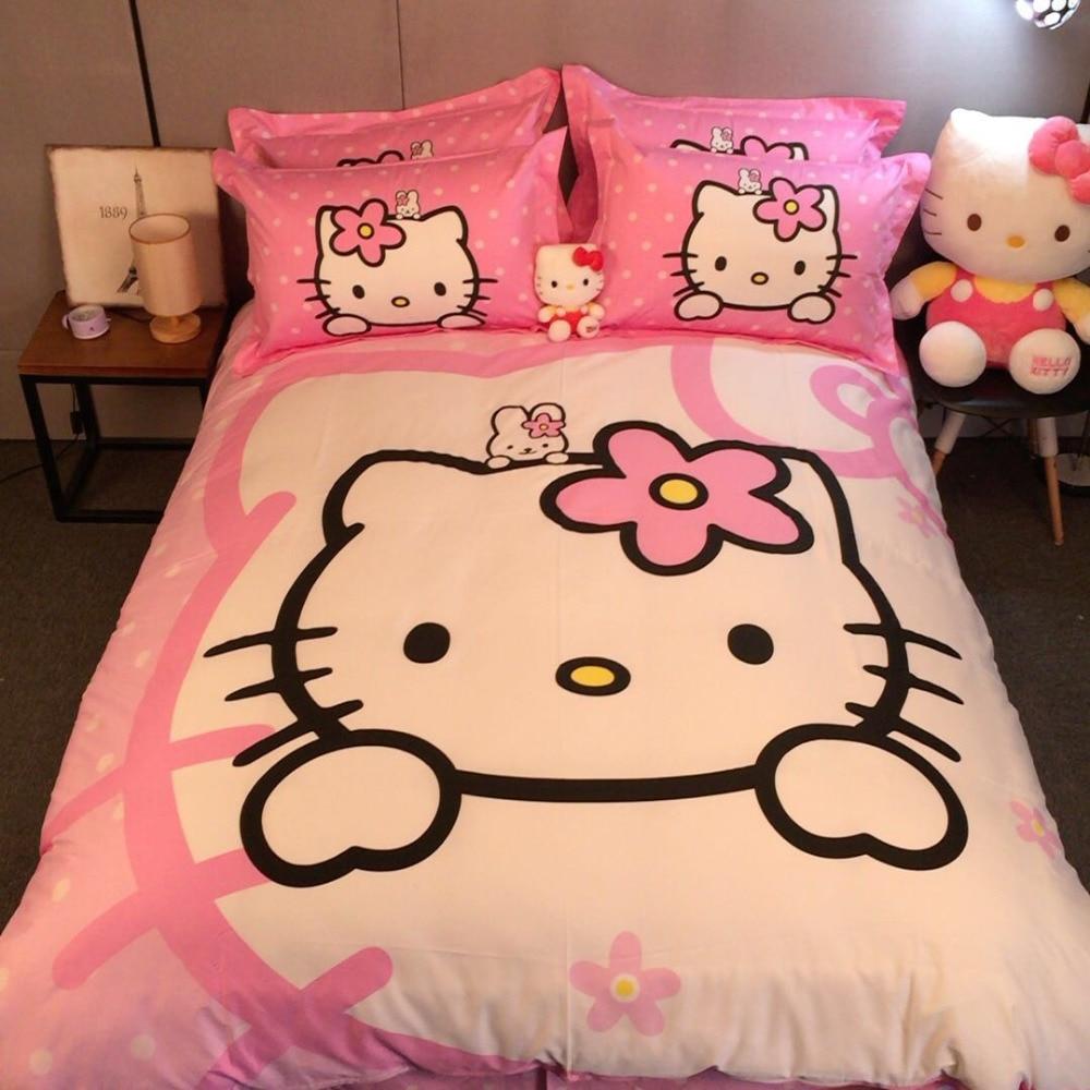 Pink hello kitty bedsheet - Lovely Pink Girls Hello Kitty Bed Bedding Set Cotton Cartoon Comforter Duvet Cover Set Queen King