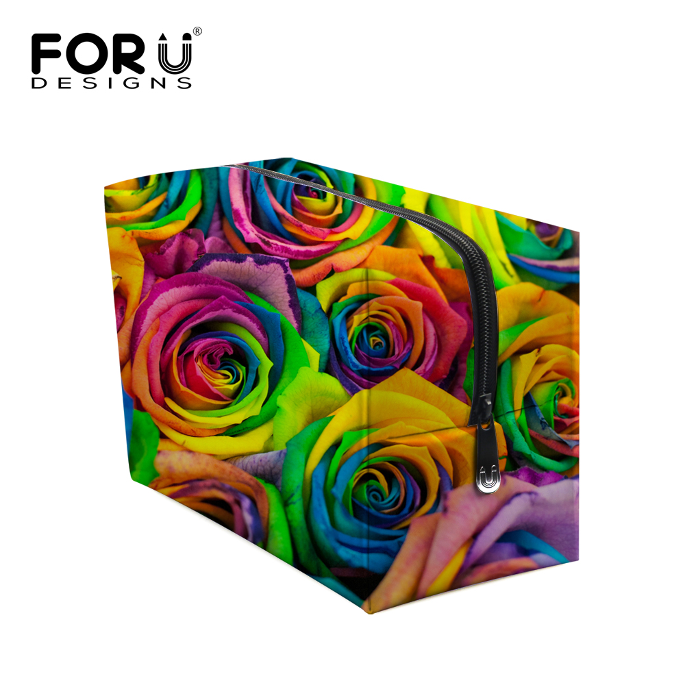 Colorful Floral Printed Cosmetic Bags for Women Flower Rose Makeup bags Case Durable Ladies Make Up Bag Organizer Toiletry