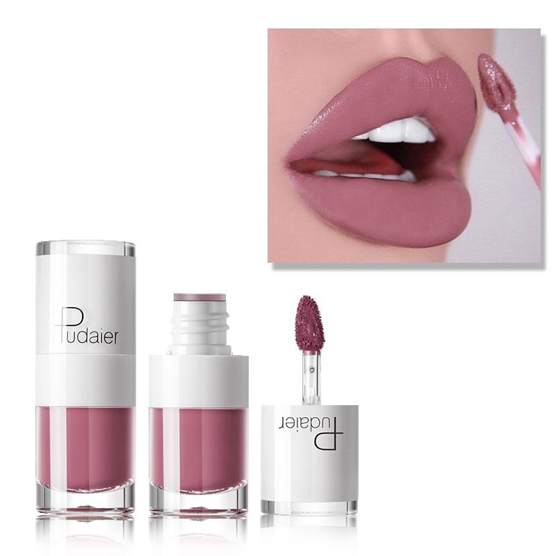 PUDAIER Brand Sexy Matte Lip Gloss 26 Colors Velvet Nude Makeup Waterproof Liquid Lipstick Lip Tint Soft Lipgloss Cosmetics Lips cup