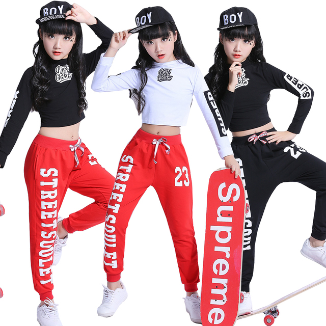 067c1c539eb8e Fashion Children Jazz Dance Clothing Girls Street Dance Hip Hop Dance  Costumes Kids Performance Party Clothes Sets 2-15Years