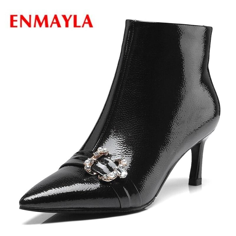 Enmayla Mujer Botines Winter red Frauen Spitz Stiefeletten Stiefel 2018 Zyl1484 Black Grundlegende 39 Größe Zip Schuhe 34 wIrIqXanT