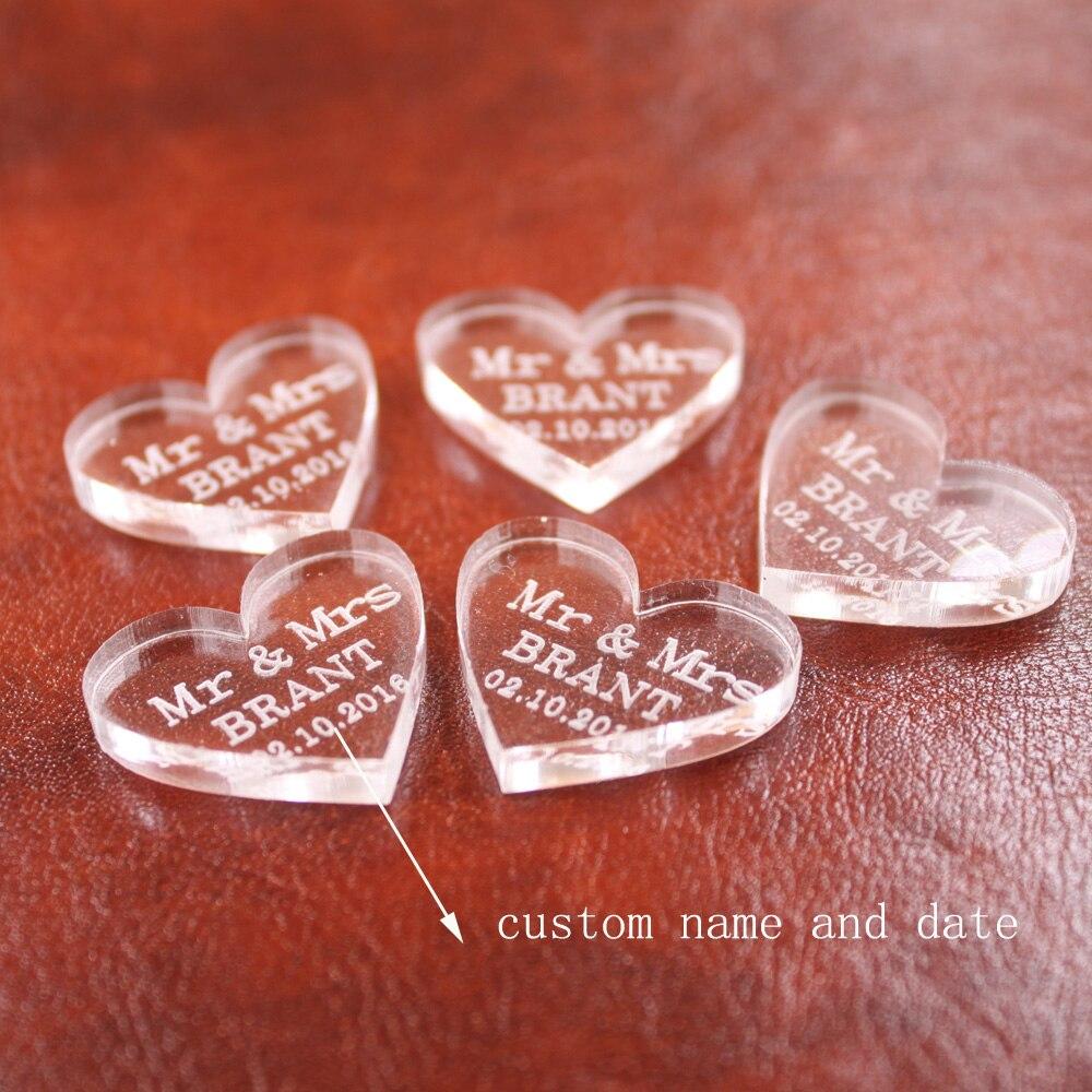 50pcs Personalized Engraved Transparent MR & MRS Surname Love Heart ...