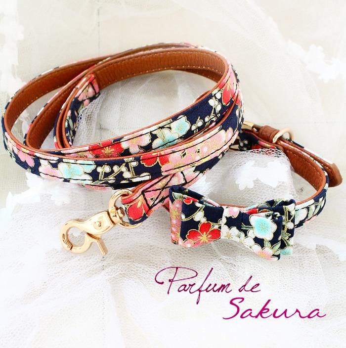 64b0f111a Envío Gratis correa de collar de perro sakura suave Pu + tela kimono  japonés lazos accesorios para ...