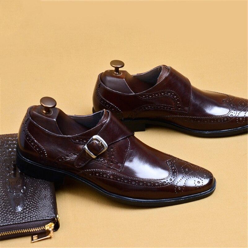 رجل أحذية من الجلد جلد طبيعي أكسفورد أحذية للرجال فستان فاخر الأعمال slipon الزفاف تصليحه الجلود مشبك الأحذية-في أحذية رسمية من أحذية على  مجموعة 1