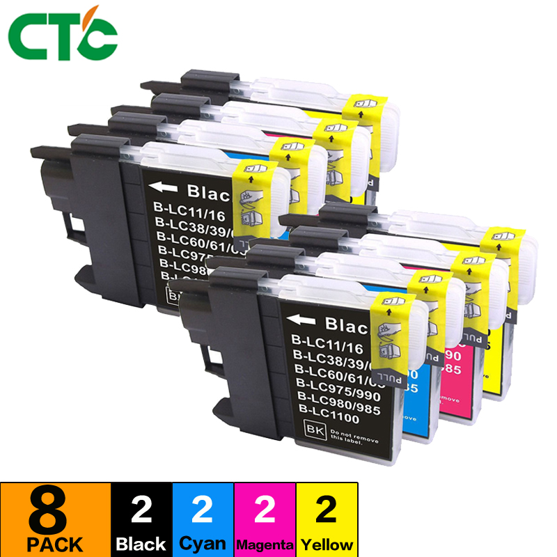 8P LC 39 60 LC39 LC60 LC-39 LC-60 Ink Inkjet Cartridges Compatible For Brother MFC-J220 DCP- J140W 145C 165C 185C 195C Printer