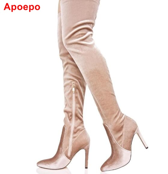 Hot Selling 2017 Beige Velvet Over The Knee Boots Side Zipper Pointed Toe Long Boots For Woman Thin Heel Slim Fit Elastic Boots