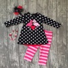 Valentine S Day Baby Girls Clothes Spring Outfits Cotton Boutique Flamingo Back Ruffle Polka Dot Striped