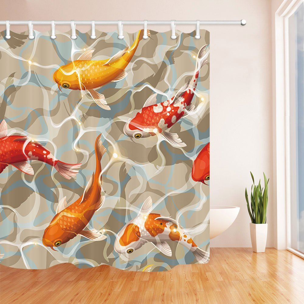 Aliexpress Buy Varicolored Koi Fish Shower Curtains For Bathroom Ocean Tropical Swimming In Water Curtain From Reliable