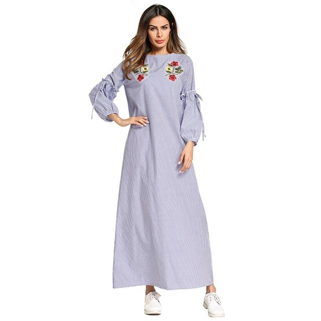 Elegant Muslim Embroidery Abaya Striped Long Robe Gowns Dress Kimono Loose  Jubah Ramadan Arabic Turkish Islamic Prayer Clothing 2d51aae1b