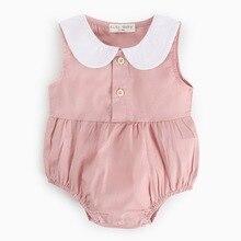 Baby Summer Jumpsuit Infant Newborn Girls Turndown Collar Sleeveless Bodysuits Kids Toddler Cotton Clothing Outfit 0-3 Years
