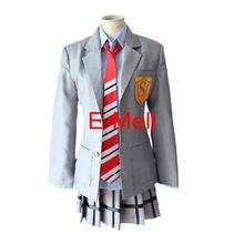Anime Cosplay Your Lie in April Miyazono Kaori Costume Cotton Coat skirt tie shirt Full set Free Shipping