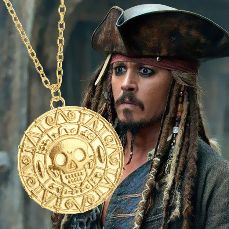 Pirates of The Caribbean Alloy Aztec Gold Coins Pendant Charms Necklace Jewelry