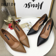 Fashion Pointed Toe PU Leather High Heels Women Pumps Work NIUFUNI Stiletto Woman Shoes Wedding Shoes Office Career Elegant cocoafoal woman green high heels shoes plus size 33 43 sexy stiletto red wedding shoes genuine leather pointed toe pumps 2018