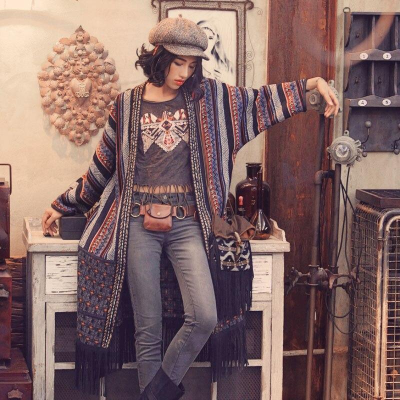 Aporie. COMME Vintage Indien Tendance Nationale Broderie Gland Mélanges De Laine Patchwork Occasionnel Plus La Taille Lâche Cardigan Long Outwear
