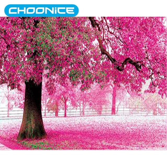 cross stitch patterns of trees flower scenery pink petals diamond