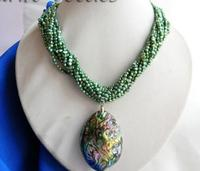 10X10 jewerly free shipping 10Strands 18'' 3mm Green Baroque Freshwater Pearl Paua Abalone Shell Pendant
