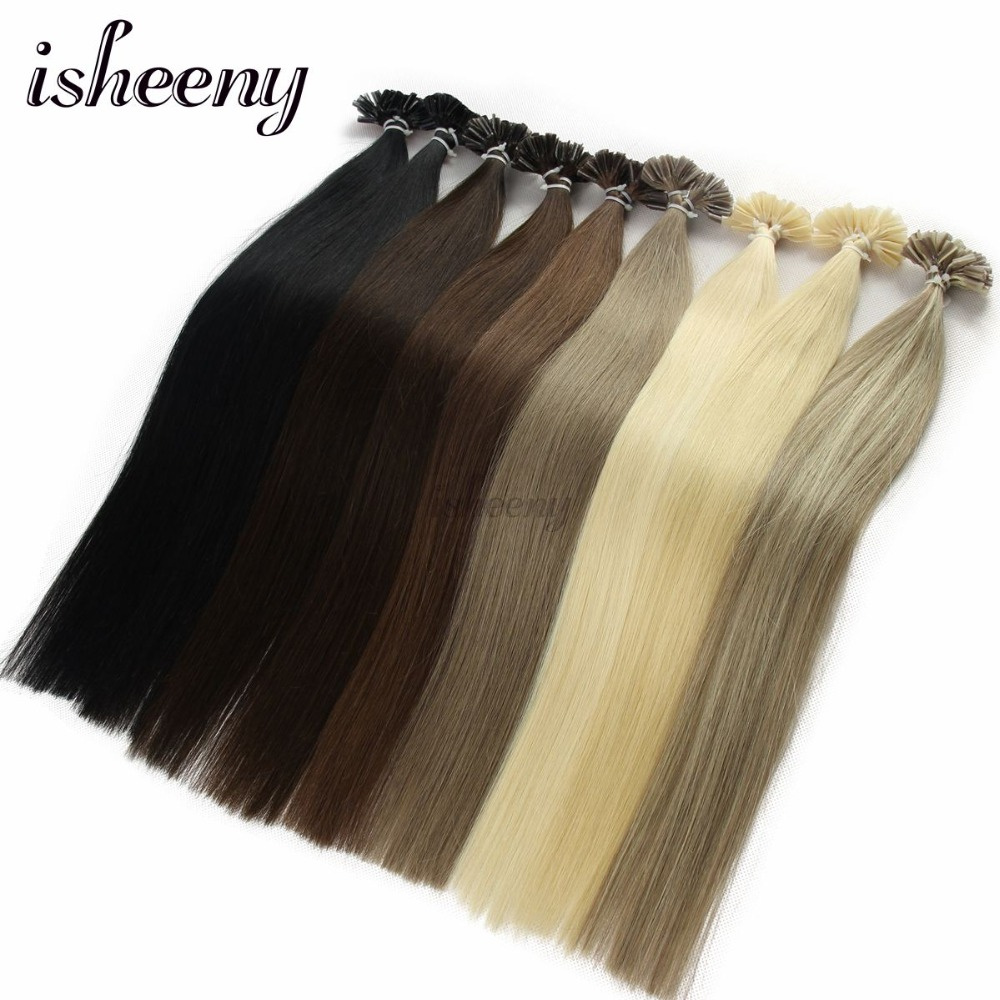 Isheeny 14 18 20 22 Fusion Hair Extensions 0.6g 0.8g 1g Remy Nail/U Tip Straight Keratin Pre-Bonding Human Hair On Capsuel