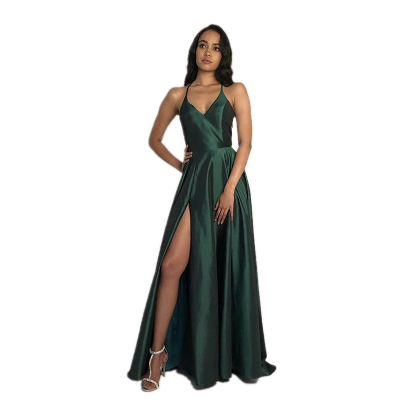 Cinderella Discount V-Neck Spaghetti Straps A-Line Silk Satin   Prom     Dresses   Red Zipper Back Side Slit Party   Prom   Gown
