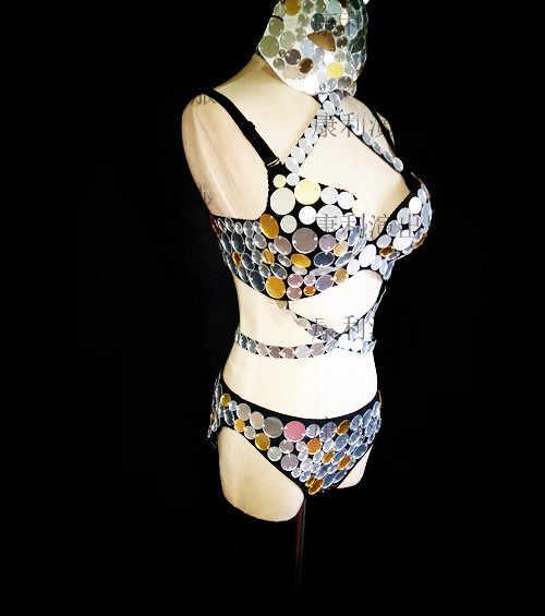 مثير الفضة عدسة المرايا قناع مجموعة البكيني البرازيلي ارتداءها الإناث ازياء السروال القصير المغني راقصة DJ DS عرض الحفلات ملهى ليلي