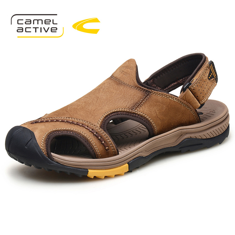Camel Active Genuine Leather Summer Soft Male Sandals Shoes For Men Breathable Light Beach Casual Quality Walking Sandals 3369