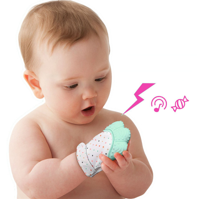 1pcs Silicone Teether Baby Bite Glove Teething Beads Babies Nursing Teething Chewable food Silicone with Sound BPA Free