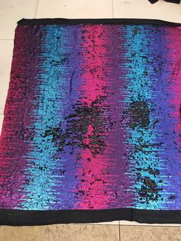 5 yards bb012 # fluorescent blue plaid sequin embroidery black mesh tulle lace for wedding dress/evening dress/fashion show