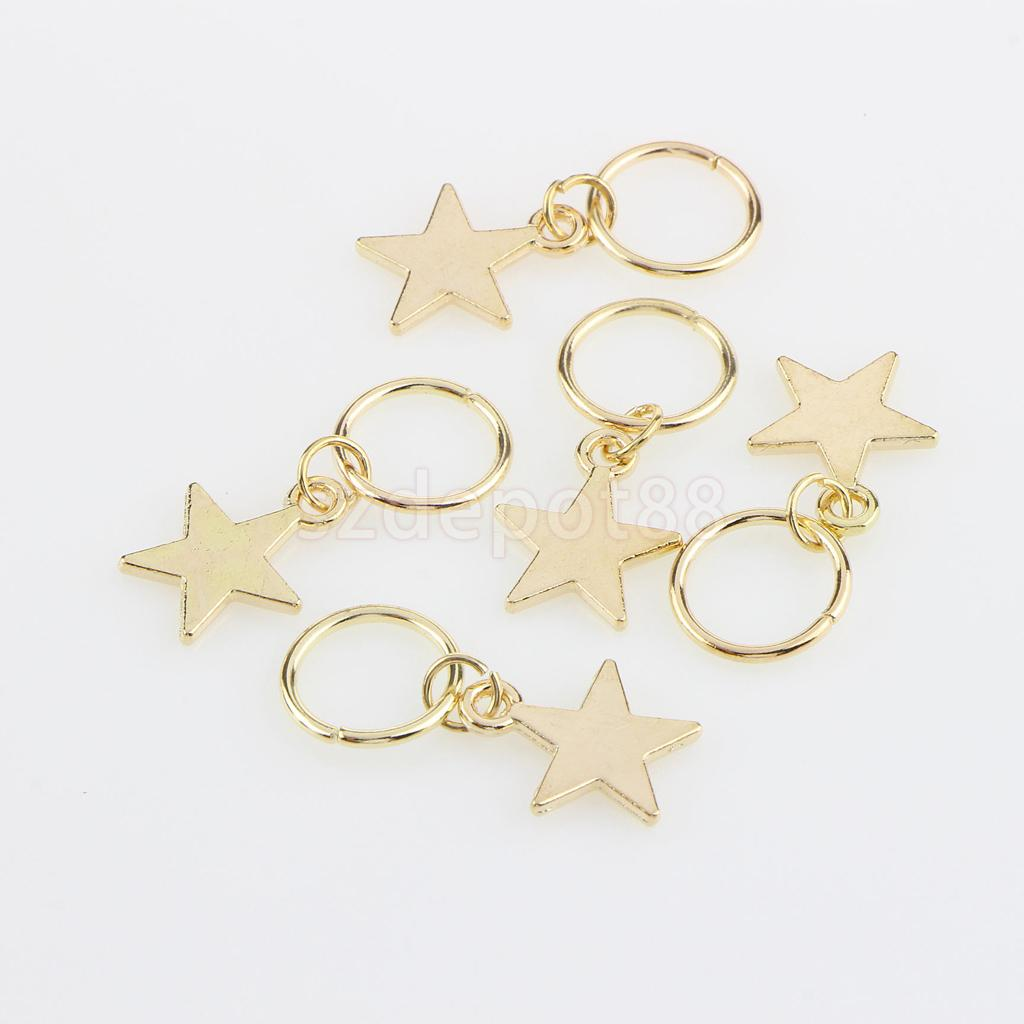 84pcs Hip Hop Hair Braid Rings Hair Loops Clips Bulk DIY Hair Accessories - Star,Leaf,Shell,Loop,Dreadlock,Snowflake