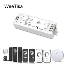 LED Dimmer Switch PWM Wireless RF 2.4G 4-Zone Touch Remote Smart Home Wifi Relay DC12V 24V Controller for Single Color LED Strip