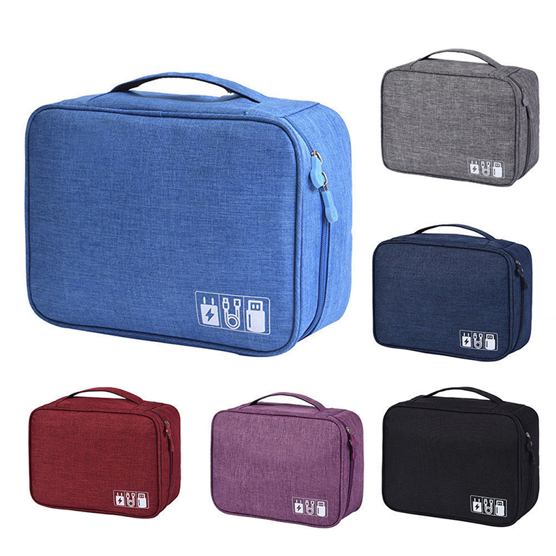 Electronics Accessories Storage Bag with Adjustable Divides New Travel Universal Cable Organizer Cases
