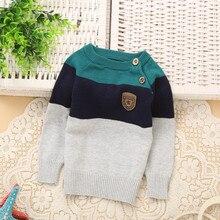 Весна/осень о-образным полосатый свитера вырезом верхняя свитер новорожденных мальчиков детские одежда